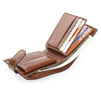 Brown Italian Cattle Neckline Real Genuine Leather Wallet Men ID Credit Card Holder Small Purse Portomonee