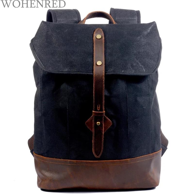 9f266349d03a US $50.13 49% OFF|Brand Designer Vintage Canvas Leather Laptop Backpack for  Men School Bag Large Capacity Waterproof Travel Rucksack Male Bagpack-in ...