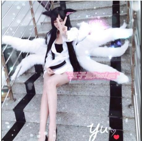 2017 Sexy Fox LOL Ahri Tail Dynasty Ahri Nine Tailed Lol Cosplay Costumes Adult Women Anime Halloween Carnival Cosplay Costumes 1