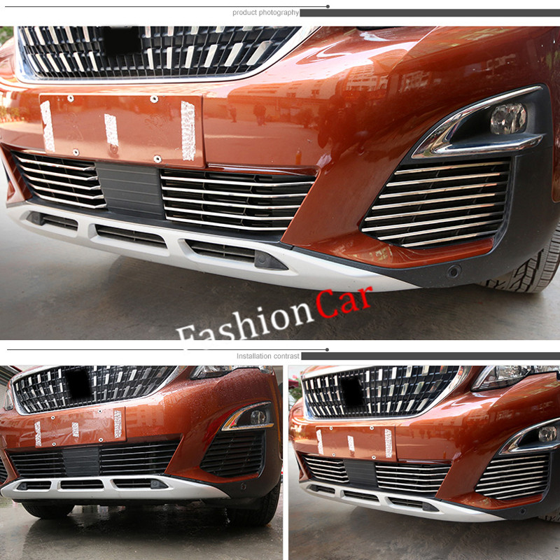 For Peugeot 5008 GT 2017 26pcs set stainless steel Front grille Racing Grills Trim car styling