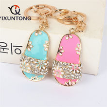 New Flip-Flops Slipper Shoe Pendant Charm Rhinestone Crystal Purse Bag Keyring Key Chain Wedding Girl Lover Gift(China)