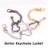 10pcs/lot Fashion Alloy Guitar shape Floting Charm Locket Magnetic Glass Locket with Keychains Floating Locket