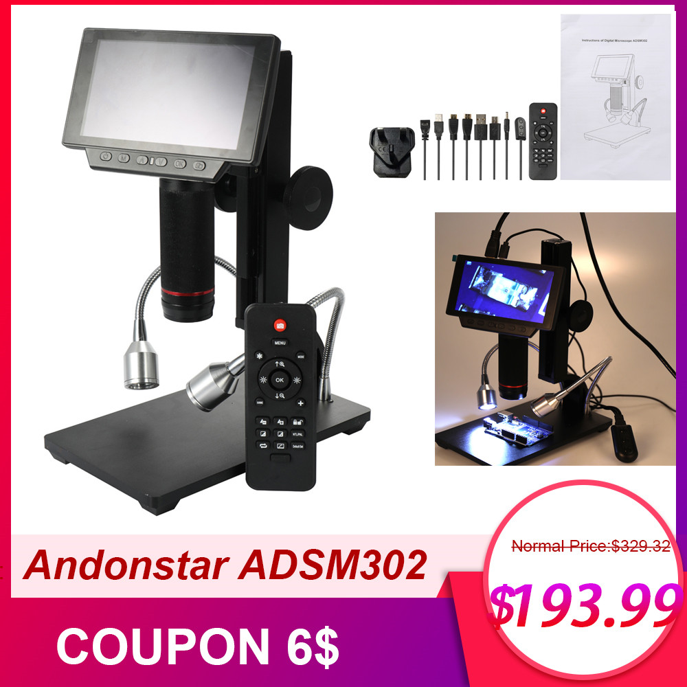 ADSM302 Digital USB Microscope,5 Inch Display 3 Mega Pixels Sensor 1080P Full HD 720P 560x High Object Distance Industrial Maintenance Electronic Microscopes Magnifier with Remote Control