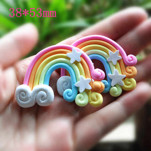 many styles rainbow kawaii polymer clay candy beads for DIY Brooches accessories 20pcs 55*38mm