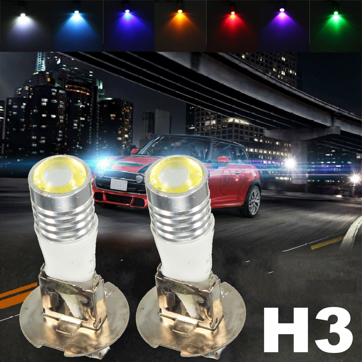 12V DC H3 11W COB LED Projector Driving DRL Fog Lights Car Headlight Lamp Bulb White Green Yellow Pink Red Blue Ice Blue car cob led h7 bulb fog light parking lamp bulbs driving foglight 7 5w drl 2pcs amber yellow white red ice blue