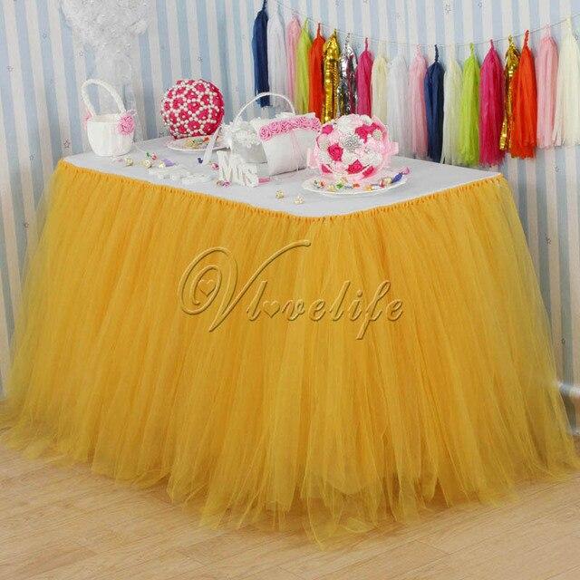 100cm x 80cm Gold Tulle Tutu Table Skirt Custom Wonderland Tulle Table Skirting Wedding Birthday Baby Shower Party Decoration