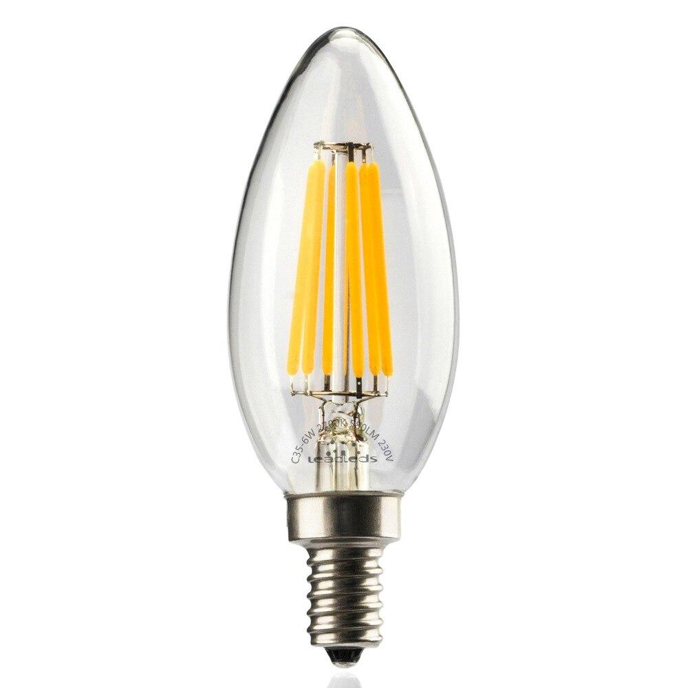 382571150b2 Leadleds LED edison bombilla de vela E14 6 W 2700 K blanco cálido 220 V Luz