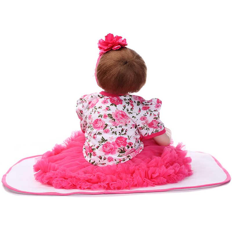 Npkcollection 22 polegada 55 cm silicone bebê reborn bonecas lifelike boneca brinquedo recém-nascido presente da menina para crianças aniversário