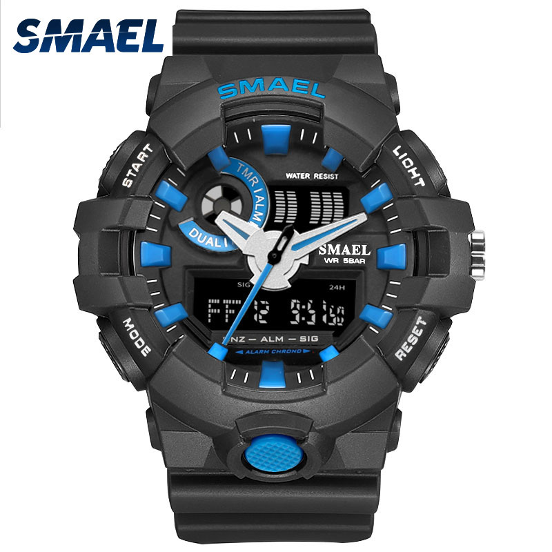 New Fashion Men Watches Smael Brand Wristwatches Swim Dress LED Wristwatches 50 Meters Waterproof Sports Male Clocks Hot 1642