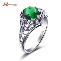 Hot Sale Retro Crown Ring 925 Silver Jewelry Green CZ Stone Sterling Silver Rings Designer engagement ring alibaba express