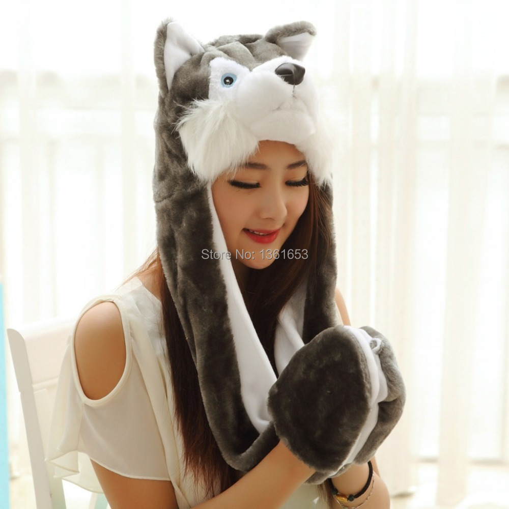 Winter hat wolf  hat  animal plush hat Big Bad Wolf hat Cosplay costumes Halloween Christmas gift Warmth