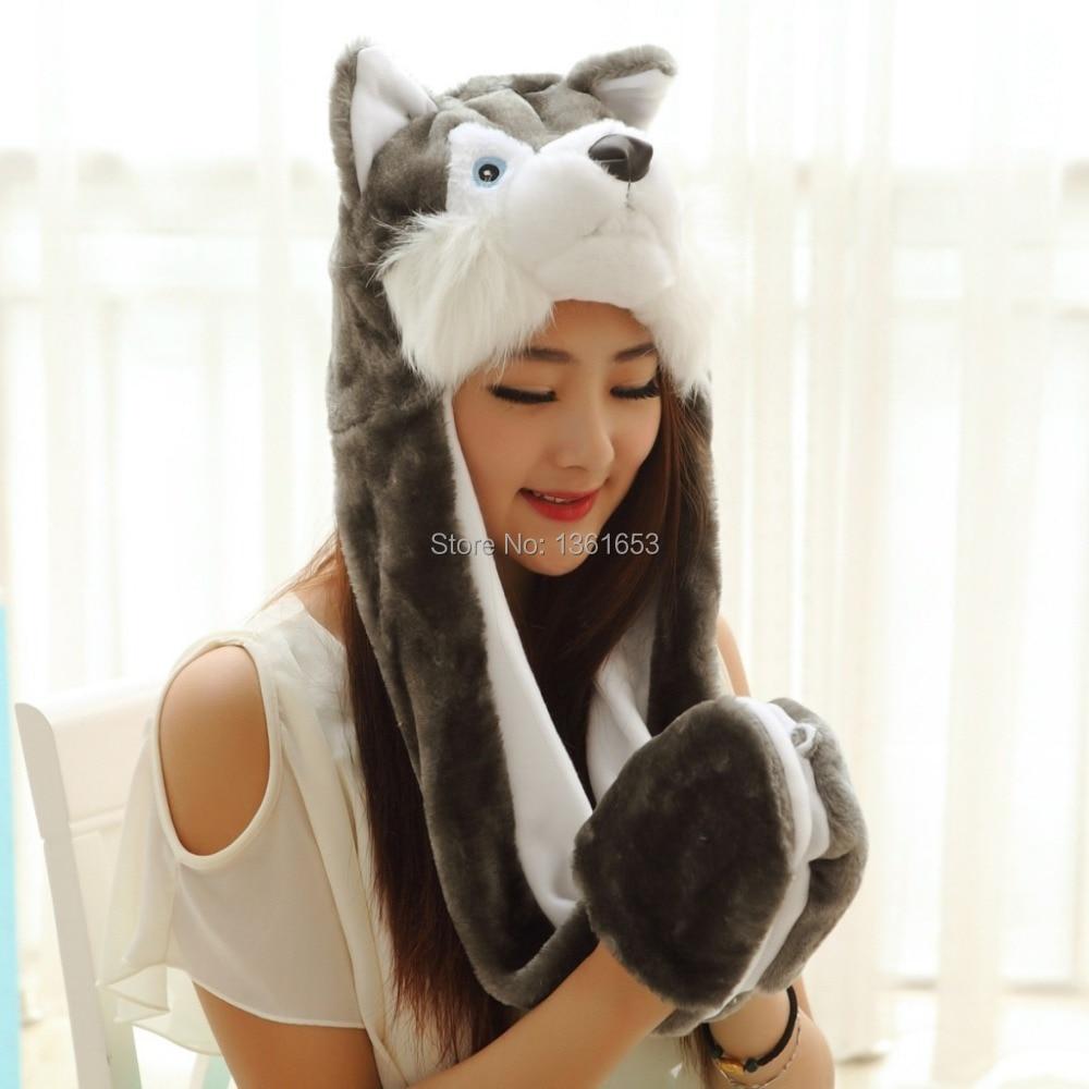 ΞWinter hat wolf hat animal plush hat Big Bad Wolf hat Cosplay ...