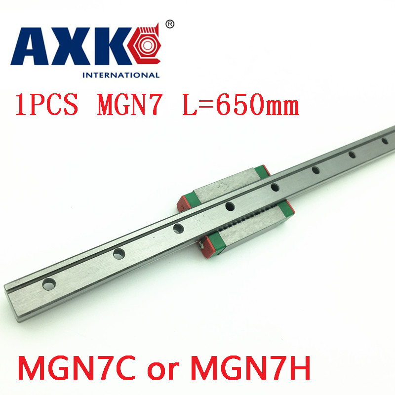 AXK rail MGN7 For 7mm Linear Guide Mgn7 L= 650mm Linear Rail Way + Mgn7c Or Mgn7h Long Linear Carriage For Cnc X Y Z Axis kossel pro miniature 7mm linear slide 2pcs mgn7 450mm rail 2pcs mgn7h carriage for x y z axies 3d printer parts