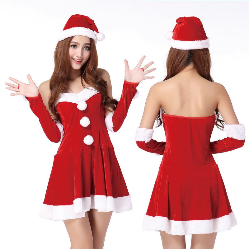 High Quality Sexy Adults Womens Santa Claus Christmas Costume Red Dress Hat Hand Ring Sexy Santa Cosplay Xmas Outfit Fancy Dress