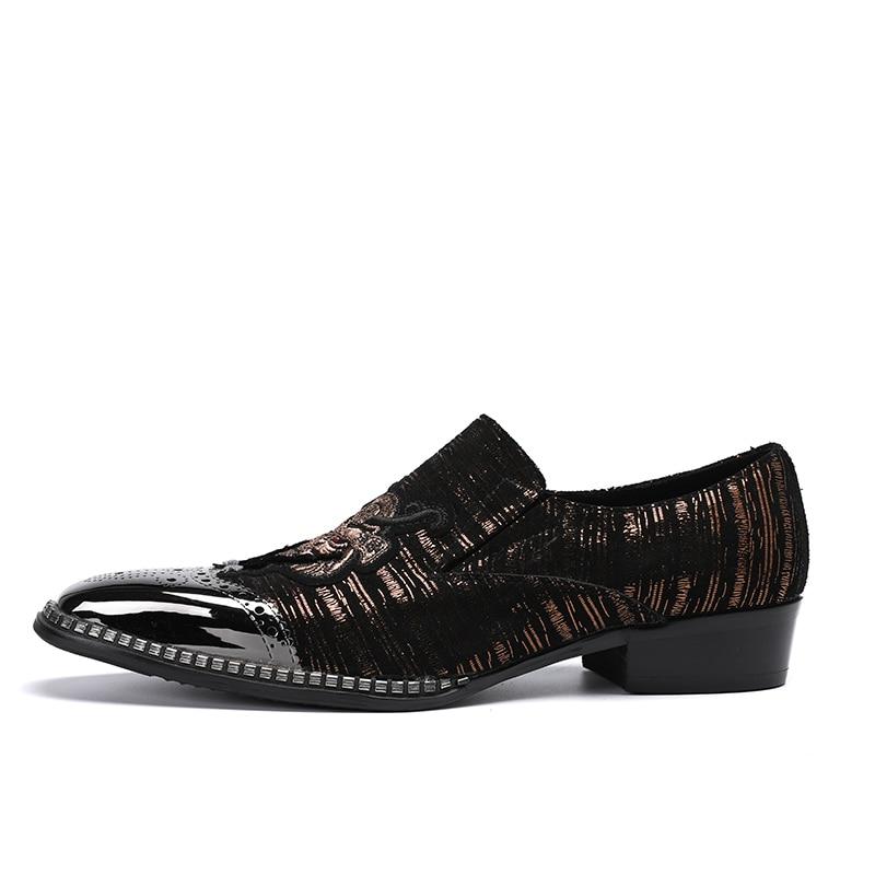 Show Broderie Casual Chaussures Hombre Nouveau Cuir Marque As Véritable Mode En Laofers Zapatillas Hommes Métal Rayé Dressing Luxe De wIvtqUtn