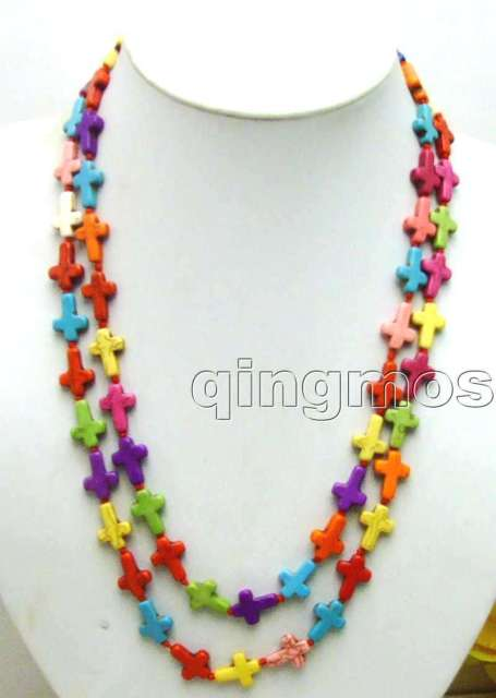 "SALE Long 46"" Multicolor Big 12*15mm Cross Turquoise beads necklace-nec5682 Wholesale/retail Free shipping"