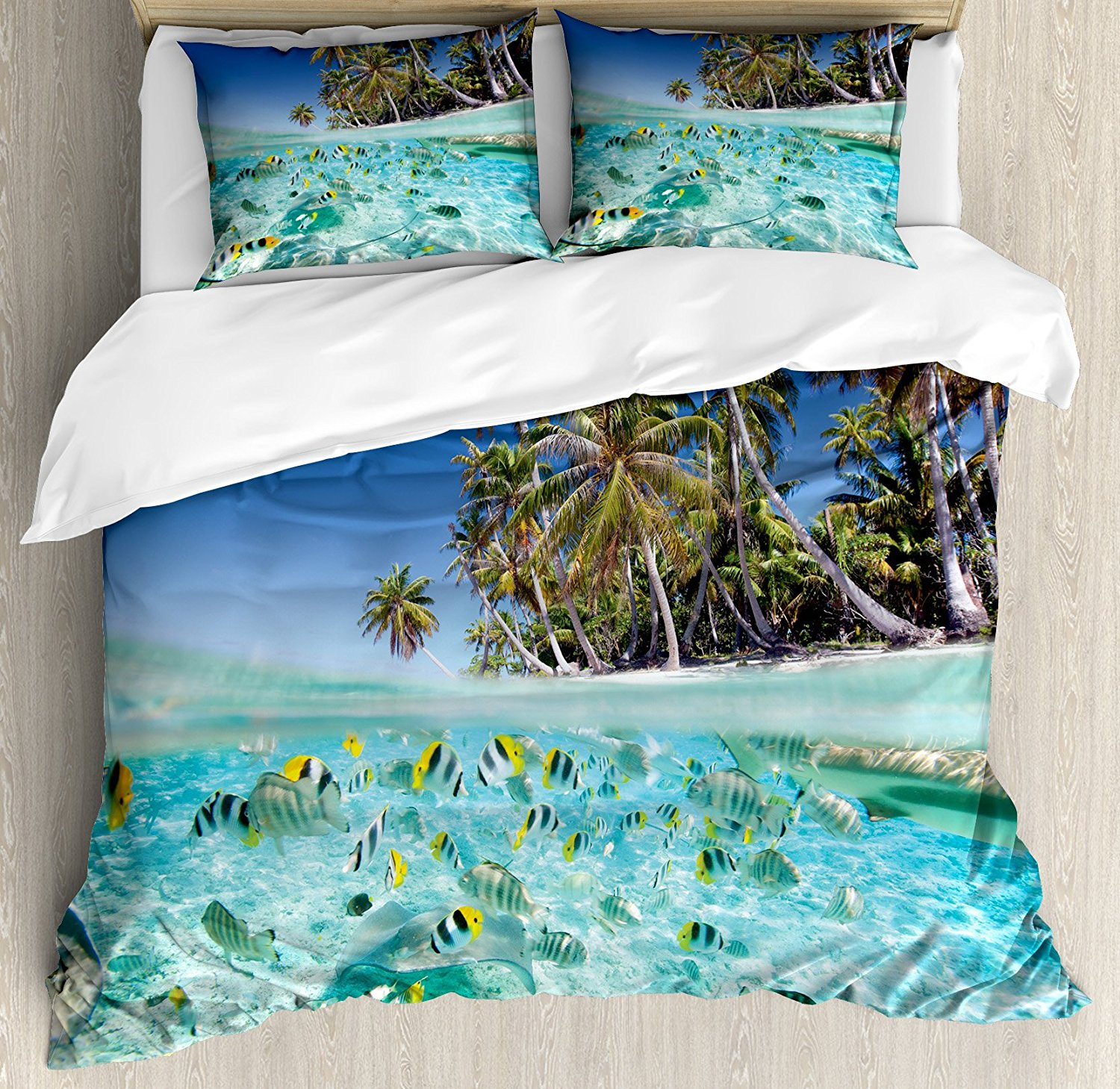 Tropical Duvet Cover Set Exotic Island Above and Underwater Picture Scenic Polynesian Untouched Shoreline Decor Bedding Set