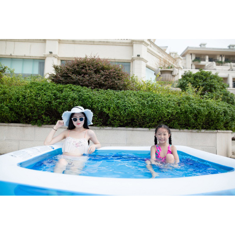 186*135*38cm transparent blue inflatable above ground swimming pool rectangular family pool adults kids child 2 layer B31007 commercial sea inflatable blue water slide with pool and arch for kids
