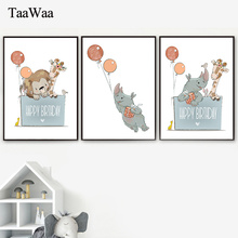 Baby Poster Rhinoceros Giraffe Tiger Kids Room Decor Animal Canvas Wall Art Prints Nordic Picture Children Home Decoration