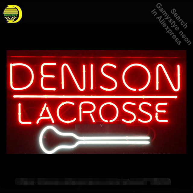 Neon Sign Denison Lacrosse Real Glass Tube Neon Light Sign Home Display Arcade handcrafted Sign Publicidad Glass Display 19x15