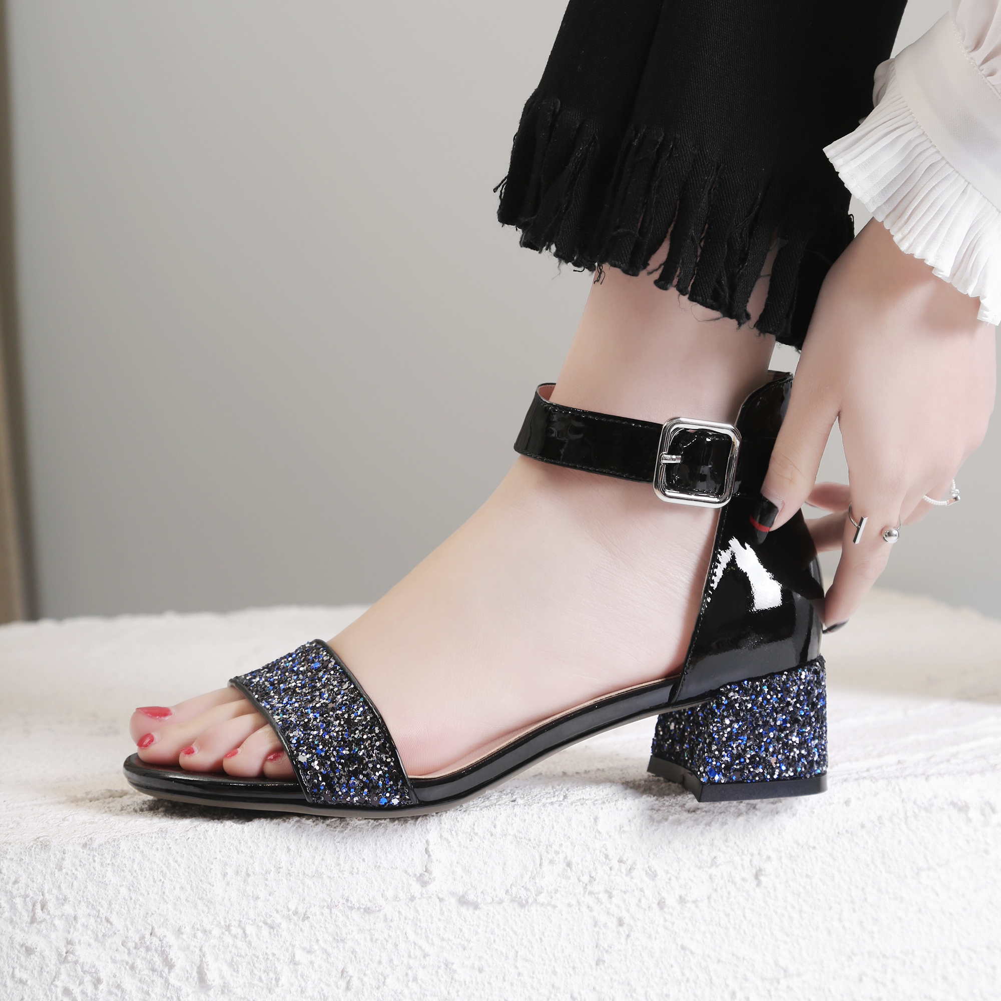 Silver Black Glitter Leather Summer Sandals Ankle Strap Thick High Heel  Cover Heel Shoes 4cm Sandalen Dames -in Middle Heels from Shoes on  Aliexpress.com ... 68b90a558ece