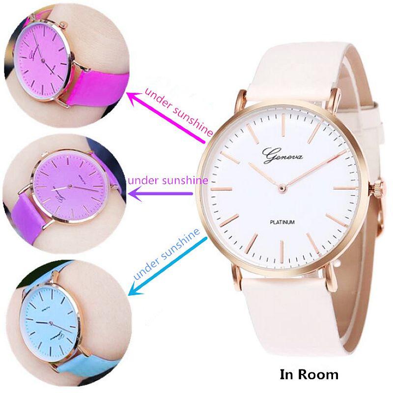 100 sztuk/partia gorąca sprzedaż modne światło zmiana skórzany zegarek wrap kwarcowy specjalny zegarek zmiana temperatury kolor paska zegarek w Zegarki damskie od Zegarki na  Grupa 1