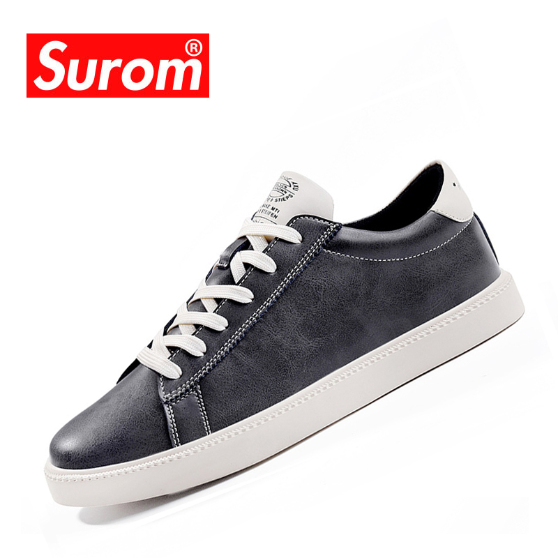 SUROM Fashion Shoes Men Lace Up Leather Casual Shoes Hot Sale Boys - Men's Shoes