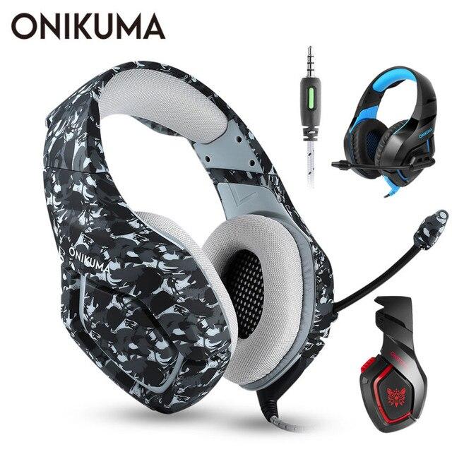ONIKUMA K1 PS4 zestaw słuchawkowy do gier casque przewodowy PC słuchawki stereo słuchawki z mikrofonem dla nowych Xbox One/Laptop Tablet dla graczy Gamer