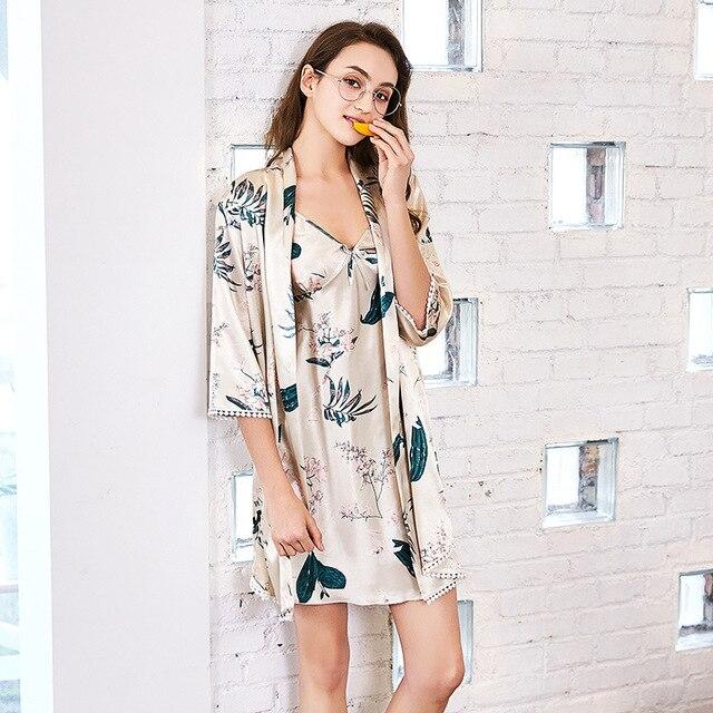 Fashion Women Satin Sleepwear 2 Pieces Set Silk Half Sleeve Robe ...
