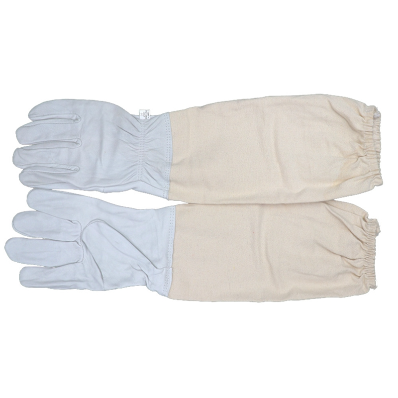 1 Pair Beekeeping Gloves Sheepskin Breathable Material Bee Tools Mesh Hollow Breathable Anti-bee Gloves Beekeeping Canvas Gloves