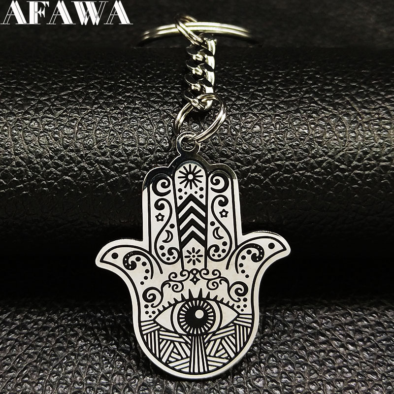 2019 Fashion Blck Hamsa Hand Stainless Steel Keychains For Men Car Key Chain Jewelry Halloween Gigt Llaveros De Acero K77453B