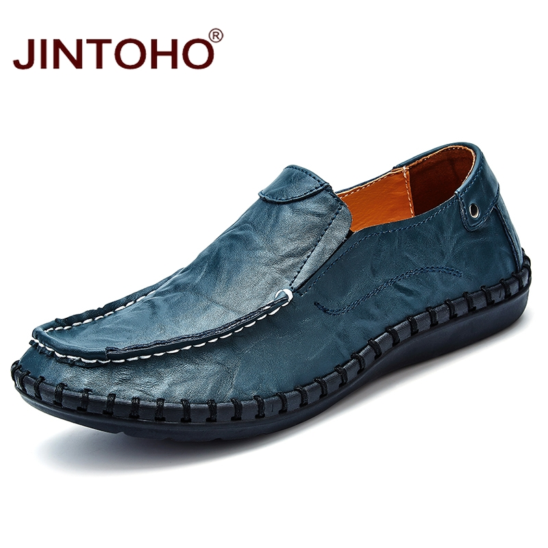 JINTOHO Men Genuine Leather Shoes Fashion Casual Male Shoes Men Flats Shoes Slip On Leather Mens Loafers Big Size Shoes Men aleader high quality mens loafers casual fashion men shoes flats breathable men slip on driving shoes big size swims loafers