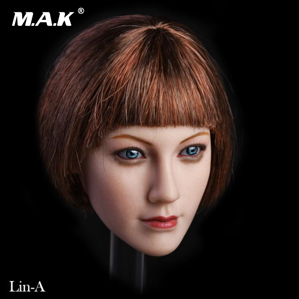 1:6 Scale Female Head Sculpt Lin with Short Hair Blue Eyes fit 12'' Suntan PHICEN TBLeague Action Figure Body custom 1 6 scale agent girl doll head f001 carving sculpt model for 12 inch ht phicen body action figure
