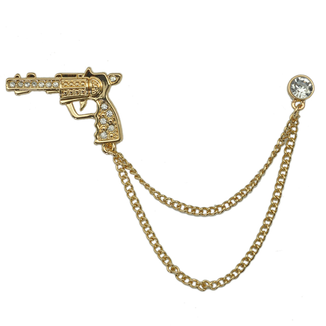 Man Cool Design Metal Gold Plating Gun Brooch Pin Unisex Fashion Costume Accessory With Chain