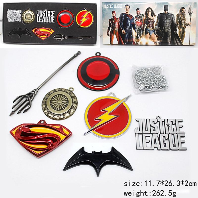 DC COMICS Justice League Superman Wonder Woman Batman The Flash Aquaman Metal Model Weapons Pendants 7-pack набор фигурок dc comics batman wonder woman superman 3 в 1 17 см