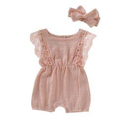 Комплекты одежды для маленьких девочек От 0 до 3 лет, летняя одежда хлопковый комбинезон для малышей, повязка на голову + комбинезон, комплект...