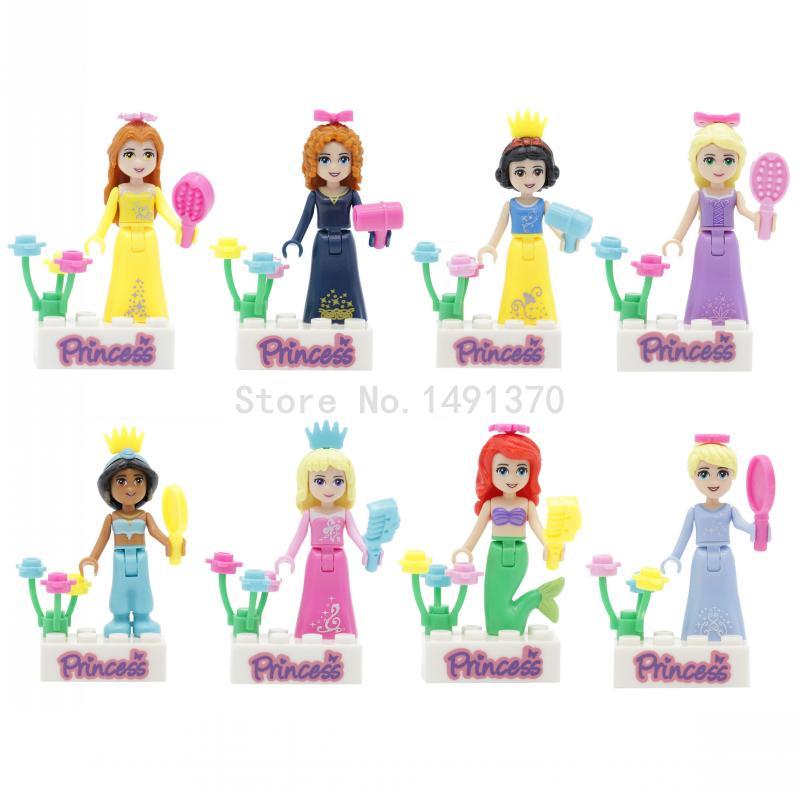 Princesse Chiffres Fille Amis Série 8 pcs/lot Elf Blanc Neige Elsa reine Anna Olaf Classique DIY Building Block Brique Jouets pour fille