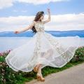 Горячее Надувательство 2017 Новый Летний Высокое Качество Вышивки Сексуальные Элегантный Blcke Зеленый Белый Long Dress Fairy Dress Рубашка женская одежда