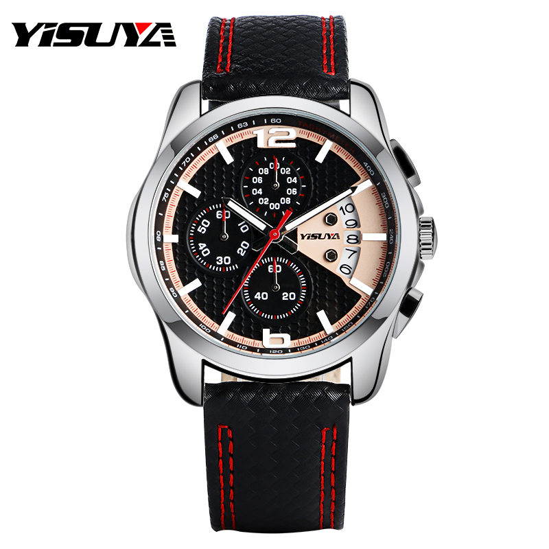 f385327bd YISUYA Top Brand Luxury Men Quartz Wristwatch Chronograph Calendar Display  Dial Genuine Leather Band Cool Male Sport Watch Gift