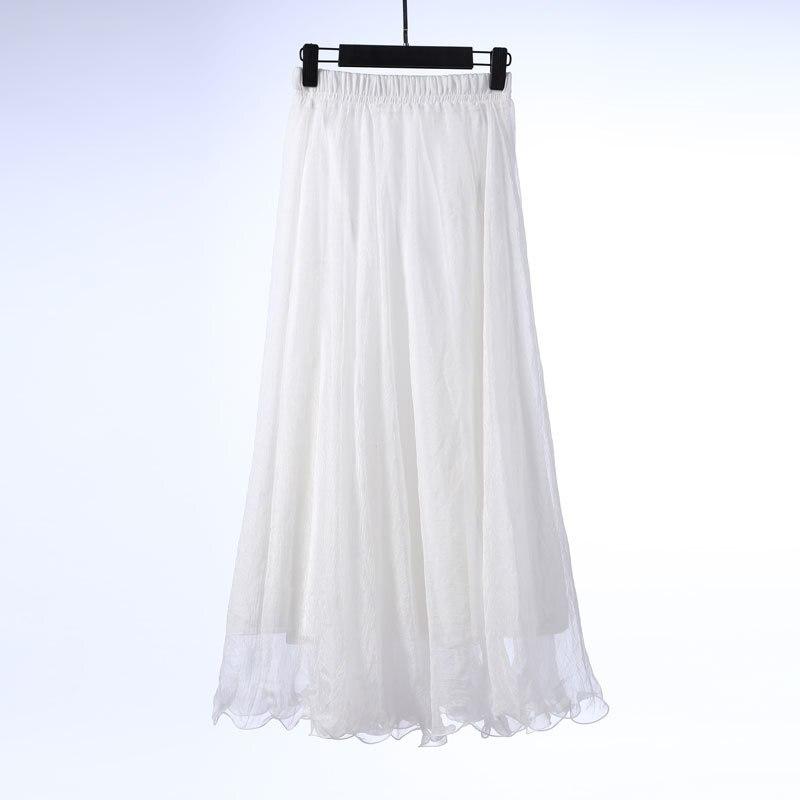 Sherhure 19 High Waist Women Chiffon Long Skirts Floor Length Ruffles White Summer Boho Maxi Skirt Saia Longa Faldas 42