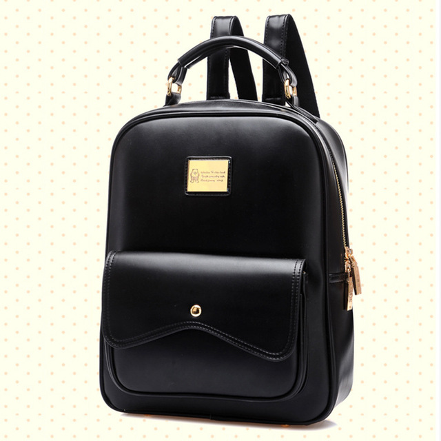 606d6185d0 Fancy Women Leather Backpack 2015 New Solid Backpacks for Teenage Girls  Popular Double Shoulder Bags Carteira