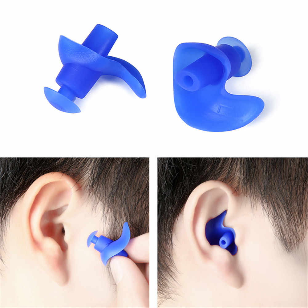 1 Pair Soft Silicone Swim Ear Plugs  Waterproof Anti-Noise Dust-Proof Earplugs