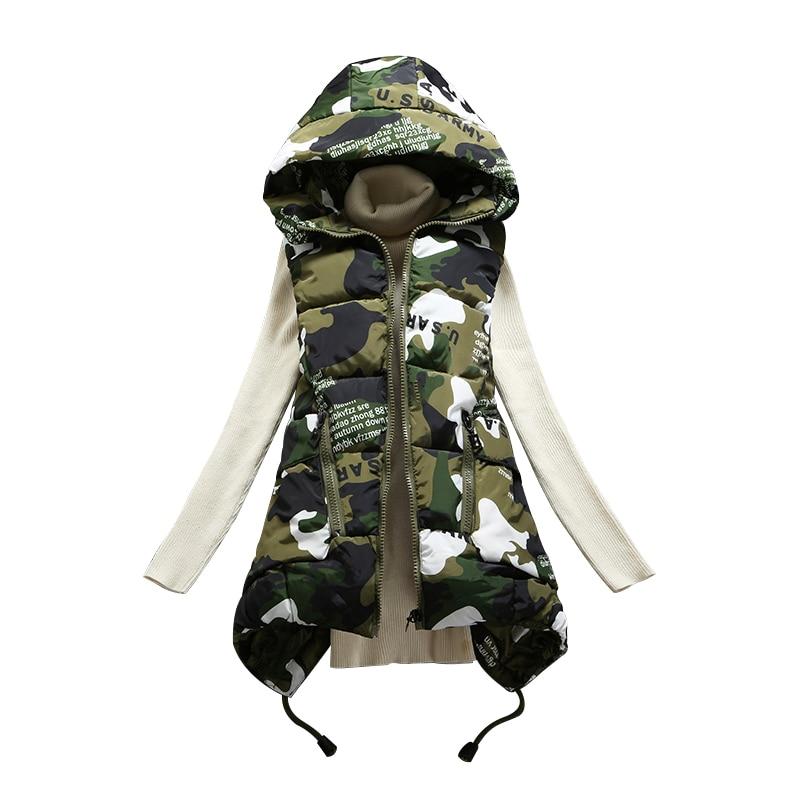 2019 nova chegada sólida coletes algodão colete feminino inverno com capuz de penas feminino longo parágrafo camuflagem jaqueta