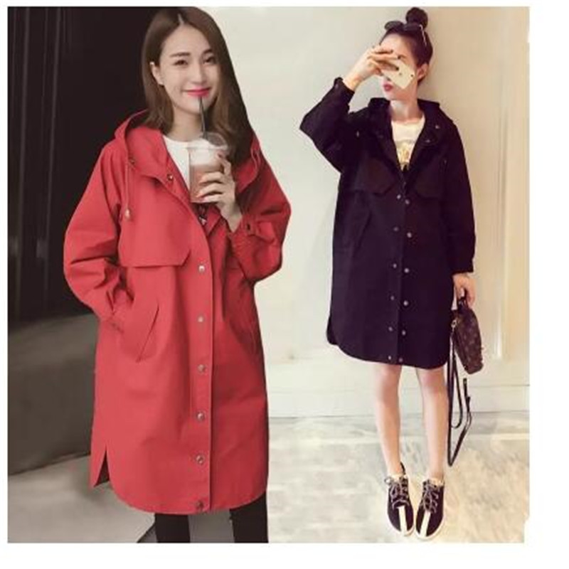 Women   trench   loose coat autumn winter outfit hooded casual long windbreaker   trench   coat female business outerwear plus size