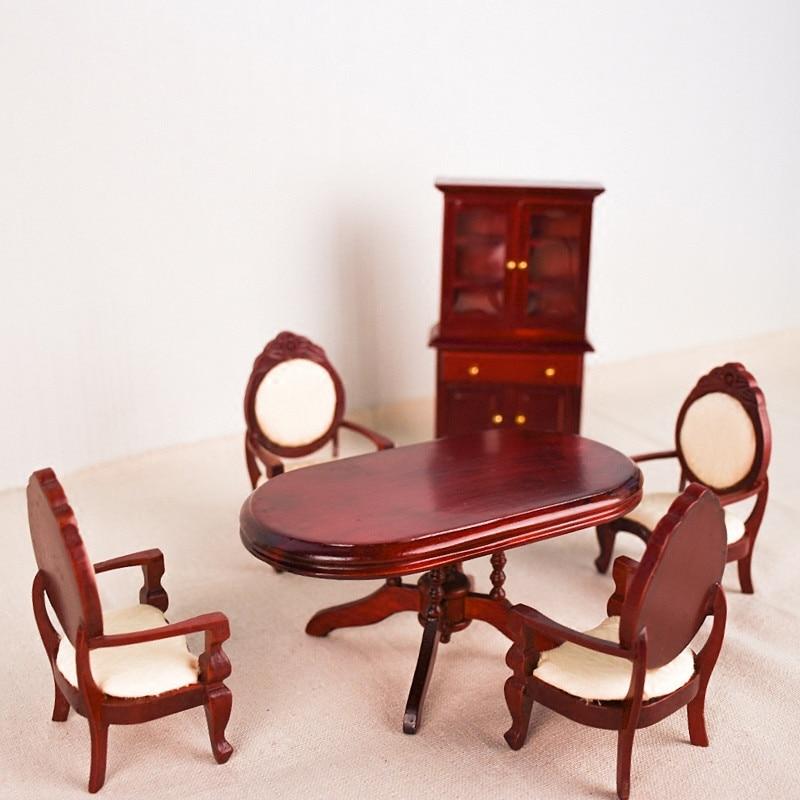 Doub K 1 12 Furniture toy Miniature red mini table set kawaii funny Wooden household pretend