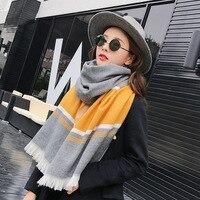 2017 otoño y el invierno nueva sección larga a rayas bufanda Demolición borde grueso mujeres calientes bufandas gran chal