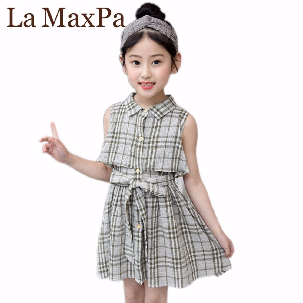 2018 Kids Girl Summer Sleeveless 3 Colors Baby Girls Plaid Dress Childrens Girls Princess Girl Party Cotton Dress For 4-12Y european and american fashion girls cotton dress summer girl party princess dress pleated polka dot kids dresses for girls 5 12y