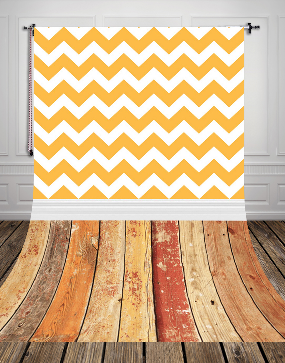 HUAYI Vintage Wood Floor Backdrop Vintage Yellow Chevron Wall Art ...