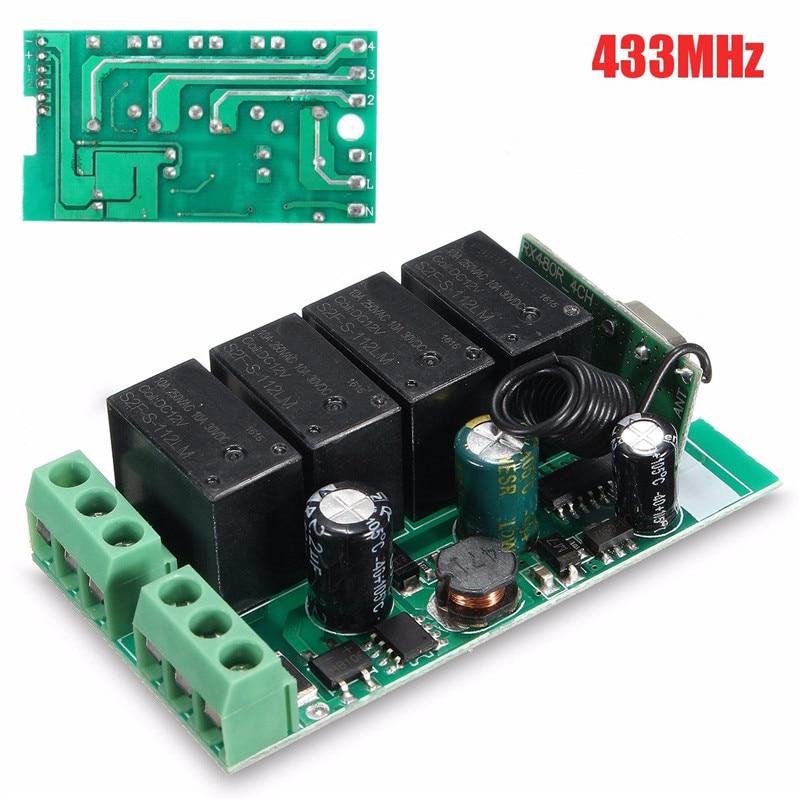 220V 4 Channel Wireless Relay RF Remote Control Switch DC 12V Relay Switch 433MHz Best Price
