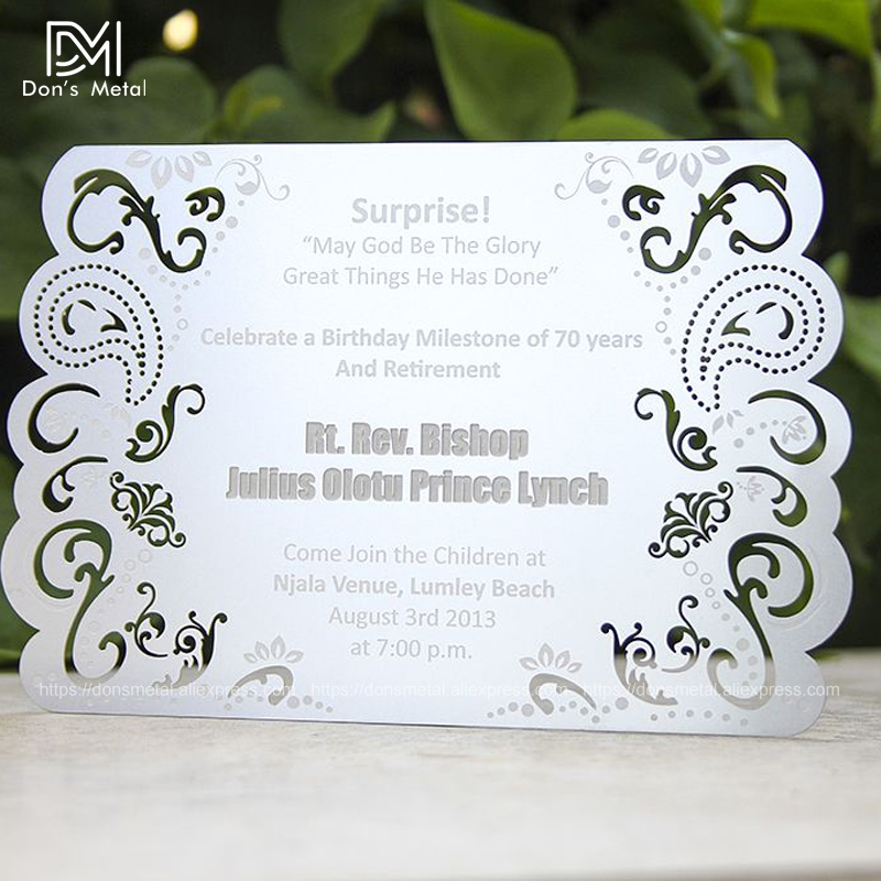 Personalized Metal Invitation Stainless Steel Invitation Letter Design Customization
